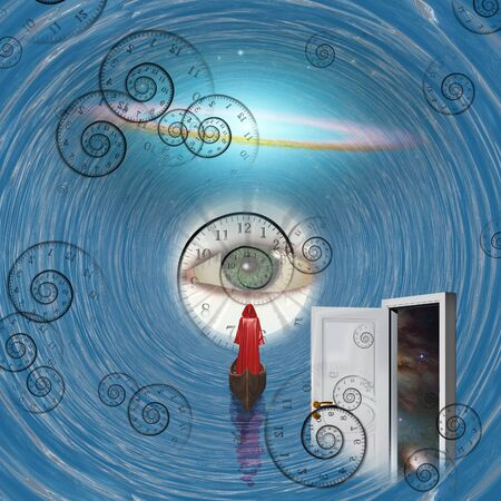 Figure in red robe floating to God's eye in blue tunnel with open door