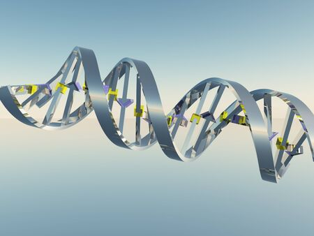 Concept of biochemistry with DNA strand. 3D rendering