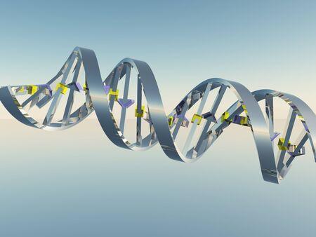 Concepto de bioquímica con cadena de ADN. Representación 3D Foto de archivo