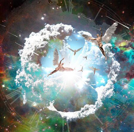 Vivid galaxy. Winged men represents angels. 3D rendering
