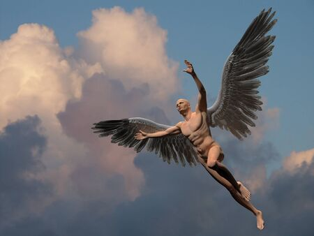 Naked man with white wings in cloudy sky symbolizes angel. Standard-Bild