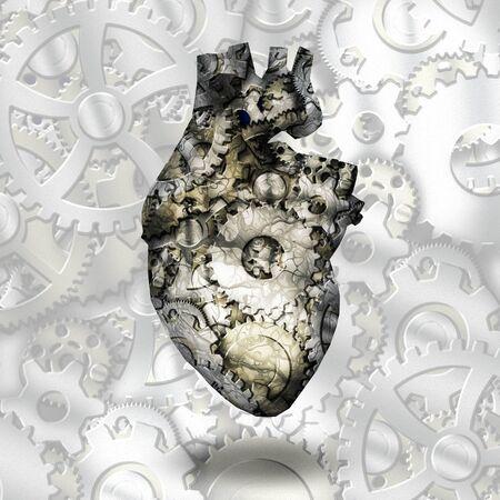 Menschliche Herzzahnräder. 3D-Rendering
