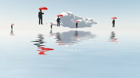 Men with red umbrellas floats above water surface