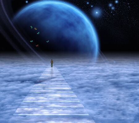 Soul Path. Man on a sky road Archivio Fotografico