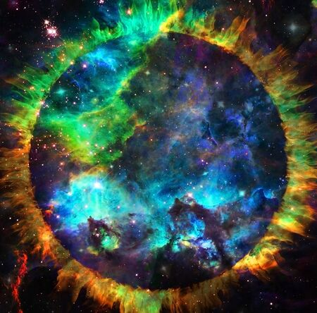 Vivid galaxy. Circle of fire in space Banque d'images