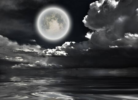Full moon. Dramatic clouds reflected in calm wat