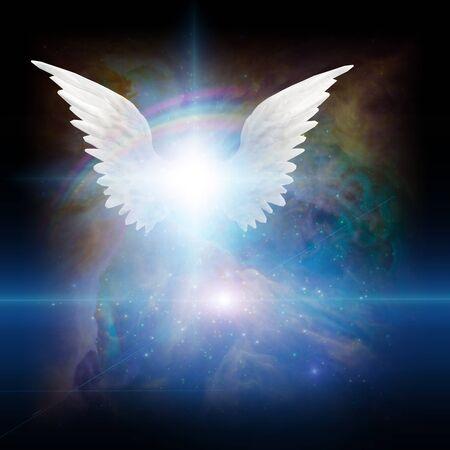 Surreale digitale Kunst. Heller Stern mit weißen Engelsflügeln im lebendigen bunten Universum