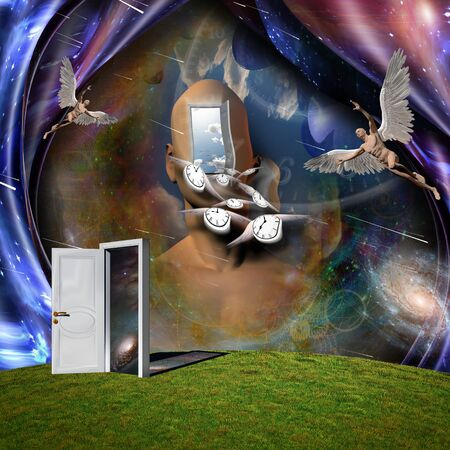 Surrealism. Man's head with opened door to another world. Man with wings represents angel. Winged clocks symbolizes flow of time. 3D rendering