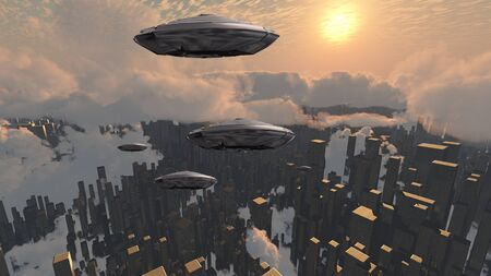 Flying saucers over futuristic megapolis. Sunset