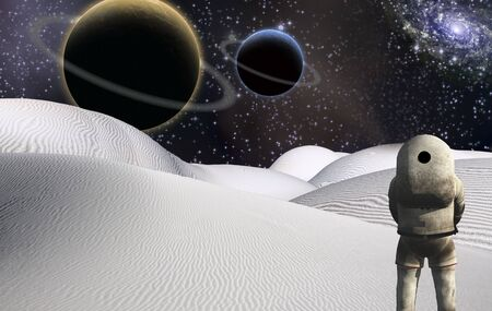 Space Visitor. Astronaut stands in surreal white desert. Big planets in starry sky