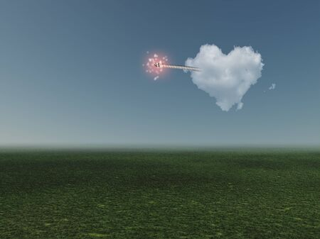 Surrealism. Cloud in shape of heart with ignited wick