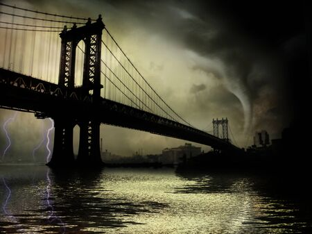 Tornado. Manhattan bridge. NYC Illustration
