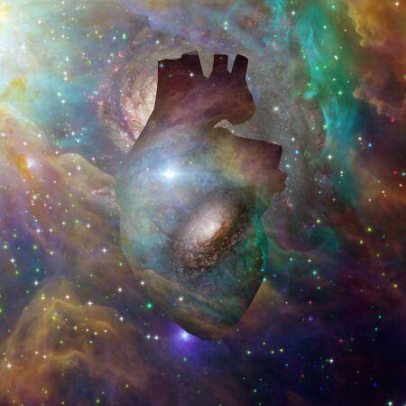 Interstellar Heart. Vivid galaxy in Universe Stock fotó