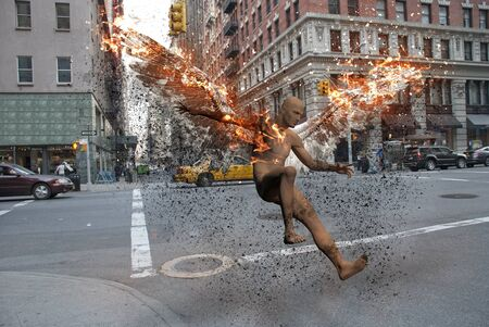 Surrealism. Streets of New York. Man with burning wings symbolizes fallen angel Stok Fotoğraf