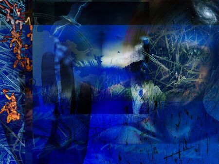 Modern Art. Grunge Blue Abstract with Woman
