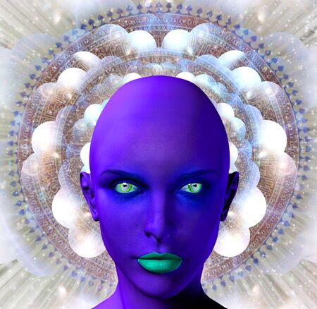 Purple female alien face on a background with multi-layered spaces and mandala Stok Fotoğraf