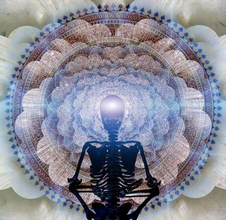 Skeleton in lotus position sits before endless spaces. Meditation