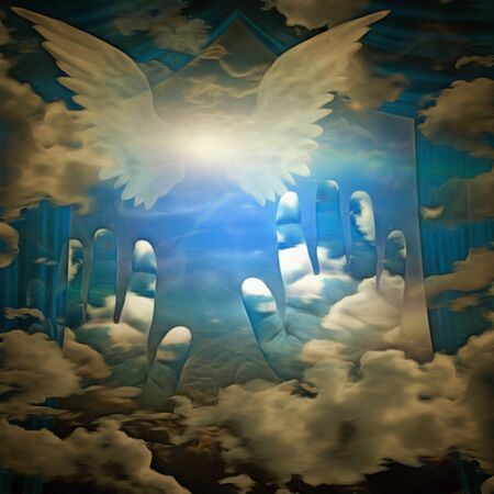 Surreal painting. Bright star with white wings in the sky. Human hands and curtains Foto de archivo