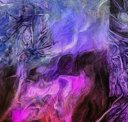 Abstract Painting. Brush strokes mostly in violet blue Banco de Imagens - 138548399