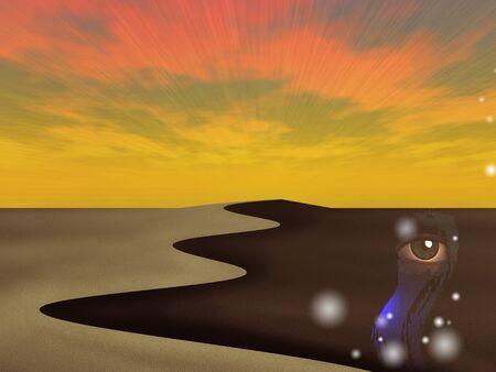 Surreal art. The desert of dreams 版權商用圖片