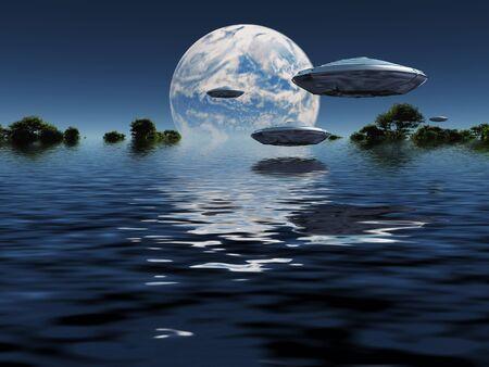 Blauer Planet am Horizont. UFOs am Himmel Standard-Bild