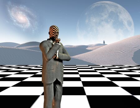 Surrealism. Thinking businessman stands on chessboard. Lonely man in a distance. White sand dune. 3D rendering Archivio Fotografico