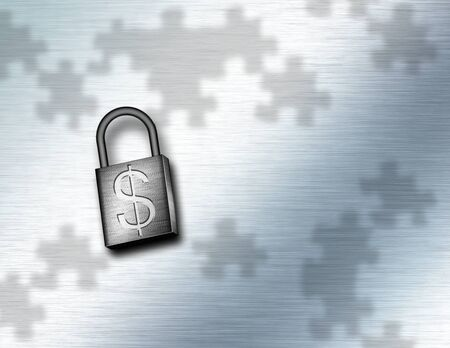 Business Security. Padlock and puzzle pieces 스톡 콘텐츠