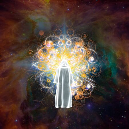 Surreal digital art. Meeting with God. Figure in white cloak stands before bright light in colorful universe