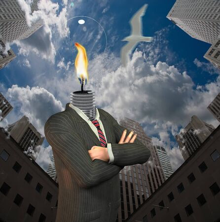 Corporate business. Symbolic composition. Man with light bulb head in downtown
