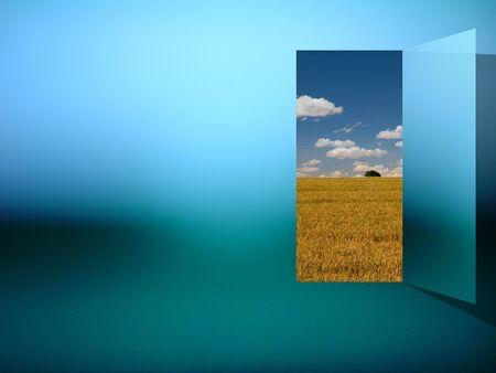 Opening. Open door to another world
