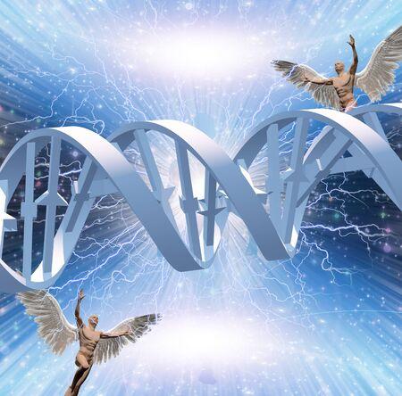 DNA strand in energy burst. Angels flies around
