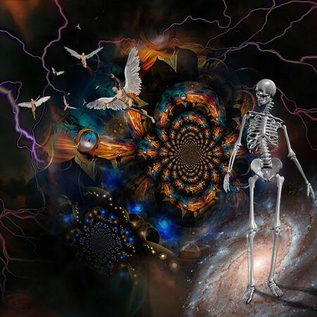 Surrealism. Men with wings symbolizes angels. Skeleton represents death. 3D rendering