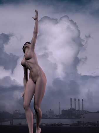 Woman is tying to reach the sky. Industrial background Banque d'images