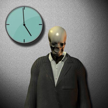 Ticking clock of life. Skeleton in suit