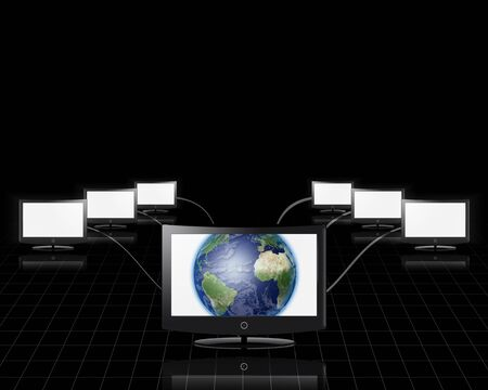 World in screen connected to network