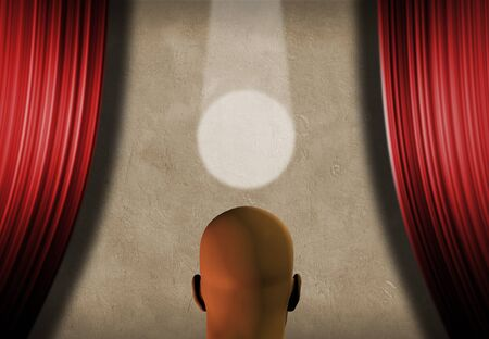 Man faces stage with spot light. Red curtains. 3D rendering