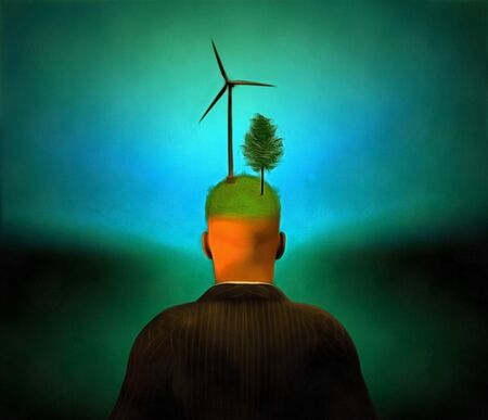 Eco concept. Man with a tree and a windmill on his head