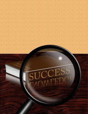 Success book and magnifying glass