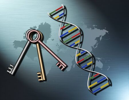DNA and keys on world map