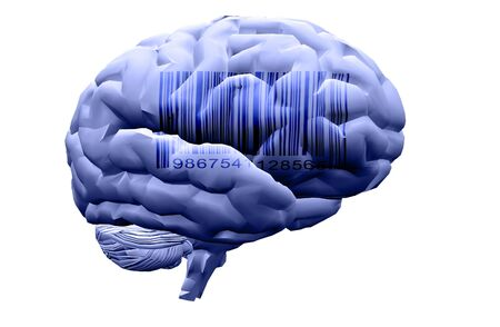Barcode on human brain. 3D rendering