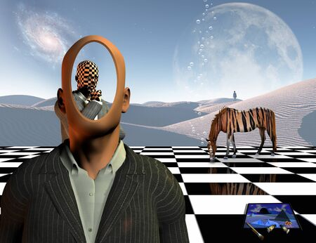 Surrealism. Faceless businessman with another thinking businessman behind him stands on chessboard. Lonely man in a distance. White sand dune. Striped horse like a tiger. Painting and brushes. 3D rendering Banco de Imagens