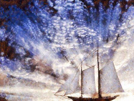 Digital Painting. Sailboat. Dramatic sky Standard-Bild