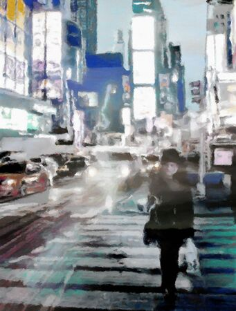 New York time square night street. 3D rendering