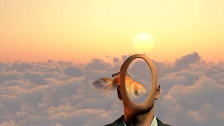 Faceless man above clouds. Golden fish Archivio Fotografico