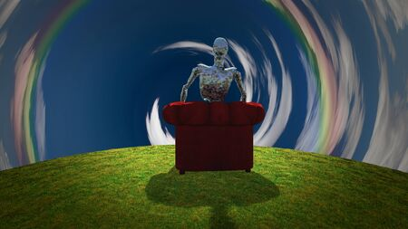 Surreal scene. Rusted alien robot sits in red armchair before tunnel of clouds. 3D rendering