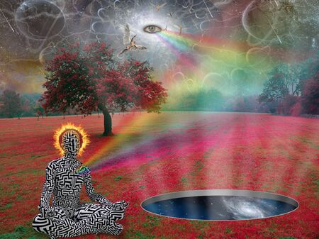 Spiritual composition. Man meditates in lotus pose in surreal landscape. Angels and eye of God