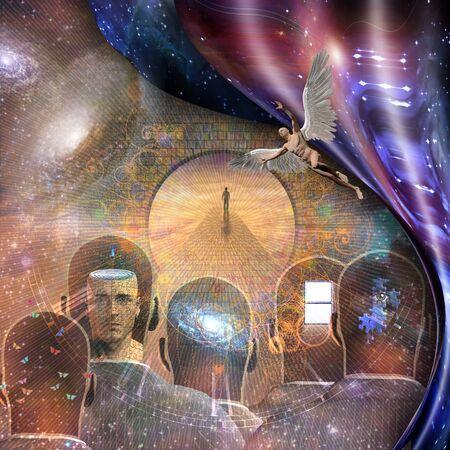 Surrealismus. Figur des Menschen auf dem Weg zum Himmel. Männerköpfe mit unterschiedlichen Gedanken im Inneren. Mann mit Flügeln repräsentiert Engel. Verzogener Raum.