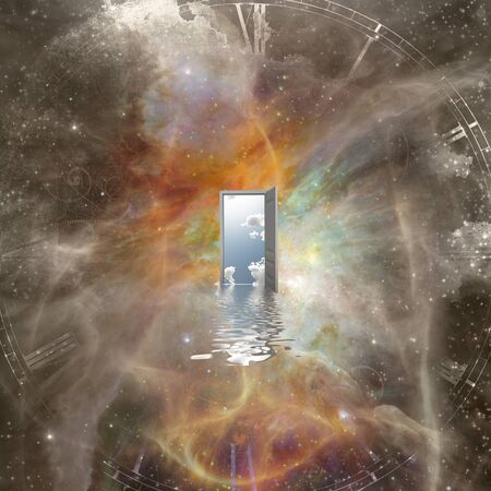 Open door in abstract space