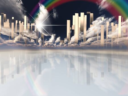 Heavenly City in Clouds. Rainbow in the sky