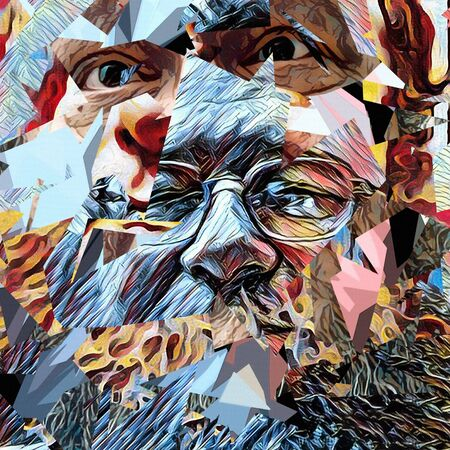 Abstract painting. Old man's face in glasses